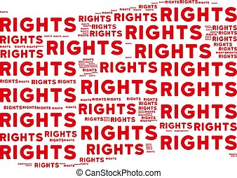 Waving Red Flag Collage of Rights Texts