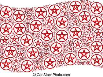 Waving Red Flag Collage of Star Pentacle Icons