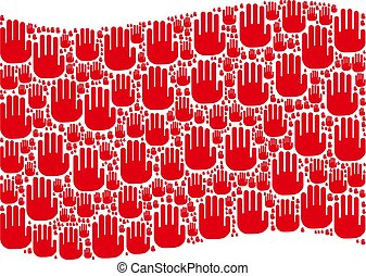 Waving Red Flag Collage of Stop Hand Icons