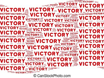 Waving Red Flag Collage of Victory Texts