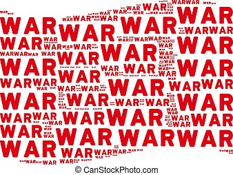 Waving Red Flag Collage of War Texts