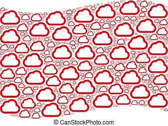 Waving Red Flag Composition of Cloud Icons