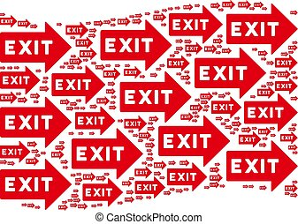 Waving Red Flag Composition of Exit Arrow Icons