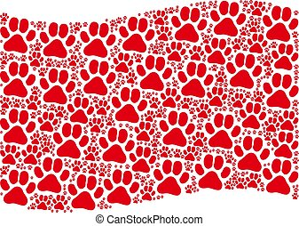 Waving Red Flag Composition of Paw Footprint Items
