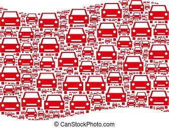 Waving Red Flag Mosaic of Car Icons