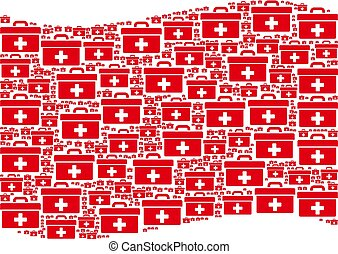 Waving Red Flag Mosaic of First Aid Toolbox Icons