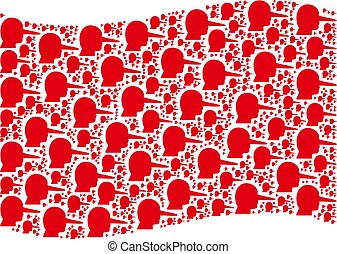 Waving Red Flag Mosaic of Lier Icons