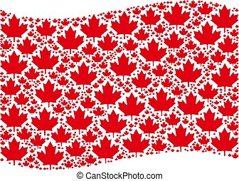 Waving Red Flag Mosaic of Maple Leaf Icons