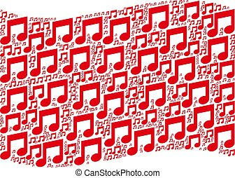 Waving Red Flag Mosaic of Music Icons