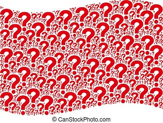 Waving Red Flag Mosaic of Question Icons