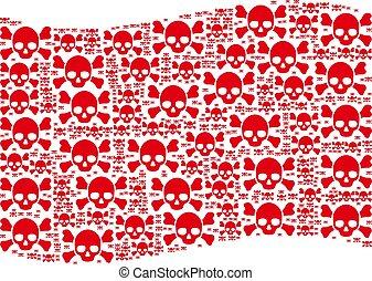 Waving Red Flag Mosaic of Skull Crossbones Icons
