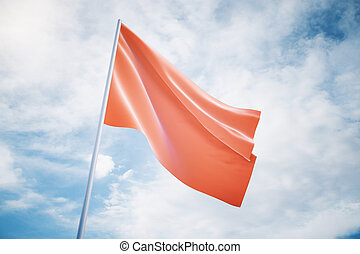 Waving red flag on a sky background, mock up
