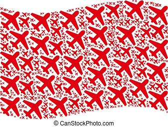 Waving Red Flag Pattern of Airplane Items