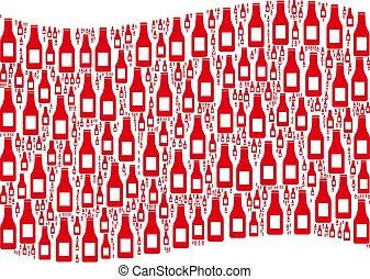 Waving Red Flag Pattern of Beer Bottle Items