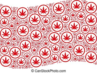 Waving Red Flag Pattern of Cannabis Items