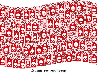 Waving Red Flag Pattern of Death Skull Tag Items