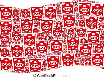 Waving Red Flag Pattern of Dollar Banknote Icons