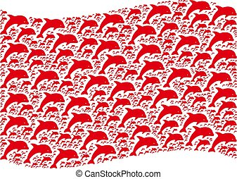 Waving Red Flag Pattern of Dolphin Items