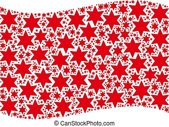 Waving Red Flag Pattern of Fireworks Star Icons