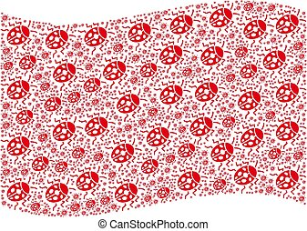 Waving Red Flag Pattern of Ladybird Bug Items