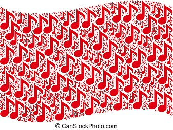 Waving Red Flag Pattern of Musical Note Icons