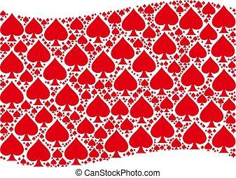 Waving Red Flag Pattern of Peaks Suit Items