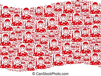 Waving Red Flag Pattern of Soldier Items - Waving red flag ...
