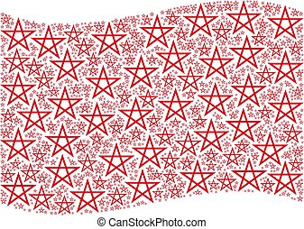 Waving Red Flag Pattern of Star Pentagram Icons