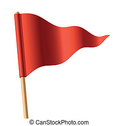 Waving red triangular flag - Vector illustration of a waving...