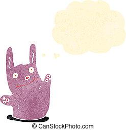 waving, retro, coelho, caricatura