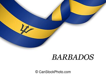 Waving ribbon or banner with flag of Barbados