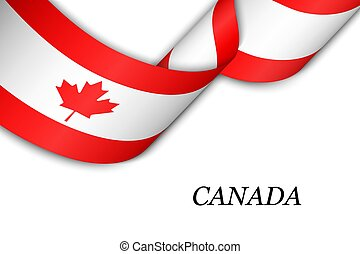 Waving ribbon or banner with flag of Canada