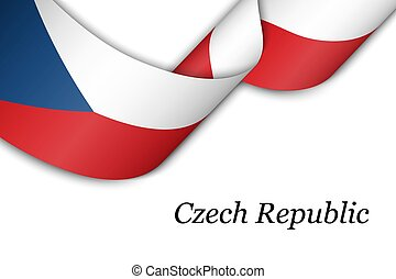 Waving ribbon or banner with flag of Czech Republic