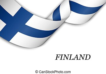 Waving ribbon or banner with flag of Finland