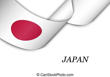Waving ribbon or banner with flag of Japan