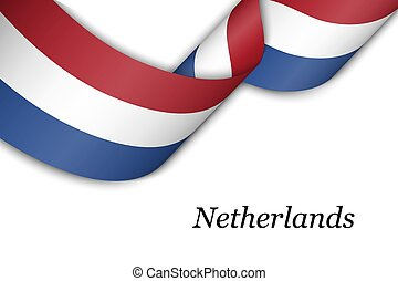 Waving ribbon or banner with flag of Netherlands