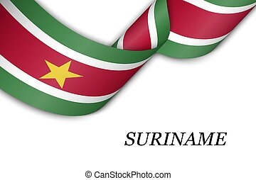 Waving ribbon or banner with flag of Suriname. Template for ...