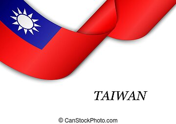 Waving ribbon or banner with flag of Taiwan