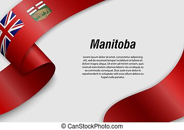 Waving ribbon or banner with flag Province of Canada
