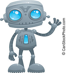 Waving Robot - Vector cartoon illustration of a cute and...