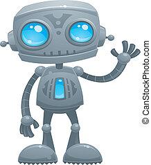 Waving Robot - Vector cartoon illustration of a cute and...