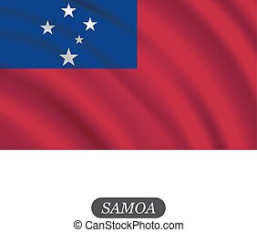 Waving Samoa flag on a white background. Vector illustration