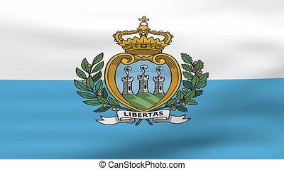 Waving San Marino Flag, ready for seamless loop.