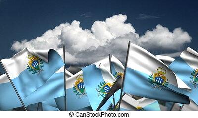 Waving San Marino Flags (seamless & alpha channel)