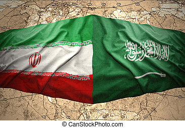 Saudi Arabia and Iran - Waving Saudi Arabia and Iranian ...