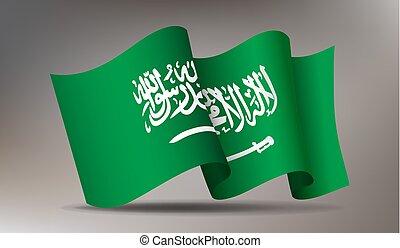 Waving Saudi Arabia flag 3d icon isolated, state on Arabian ...