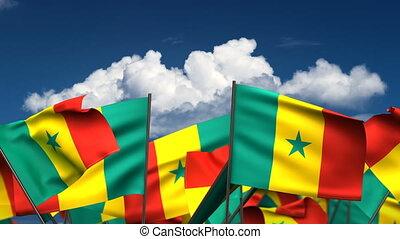 Waving Senegal Flags (seamless & alpha channel)