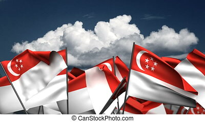Waving Singapore Flags (seamless & alpha channel)