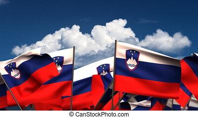 Waving Slovenian Flags (seamless & alpha channel)