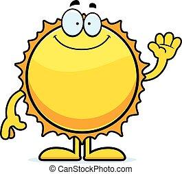 waving, sol, caricatura